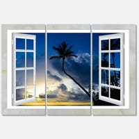Window to Beach with Coconut Palms - Landscape Glossy Metal Wall Art - 36Wx28H