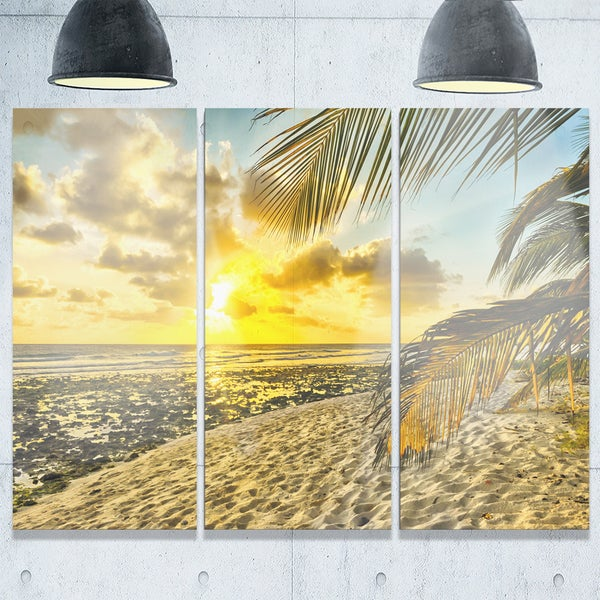 White Caribbean Beach with Palms - Landscape Glossy Metal Wall Art - 36Wx28H