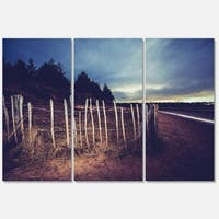 Old Fence on Beach at Sunset - Landscape Glossy Metal Wall Art - 36Wx28H