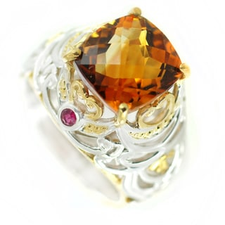 One-of-a-kind Michael Valitutti Madeira Citrine and Ruby Cocktail Ring
