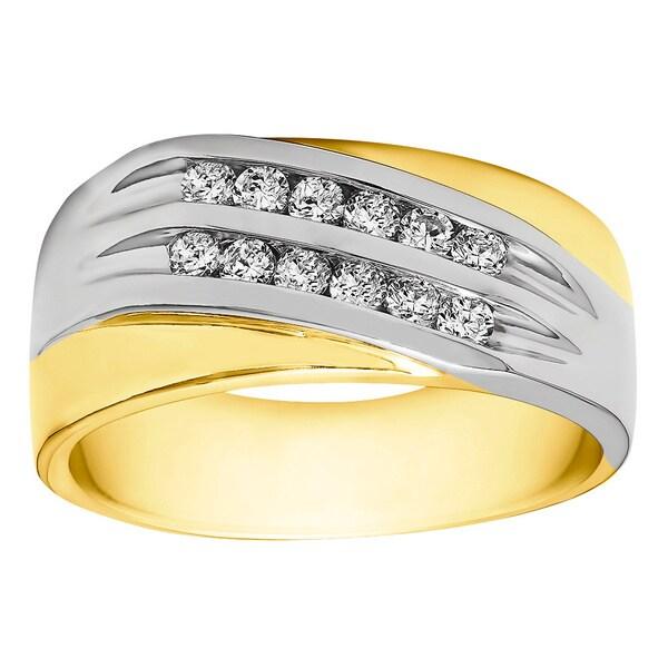TwoBirch Sterling Silver Men's 2/5ct TGW White Sapphire Double Channel Set Wedding Ring