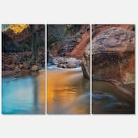 Slow Motion Virgin River at Zion - Landscape Glossy Metal Wall Art - 36Wx28H