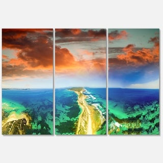 Green Fort Nepean Road from Helicopter - Landscape Glossy Metal Wall Art - 36Wx28H