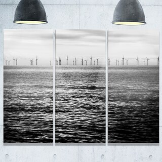 Wind Turbines Black and White - Landscape Glossy Metal Wall Art - 36Wx28H - 36 x 28