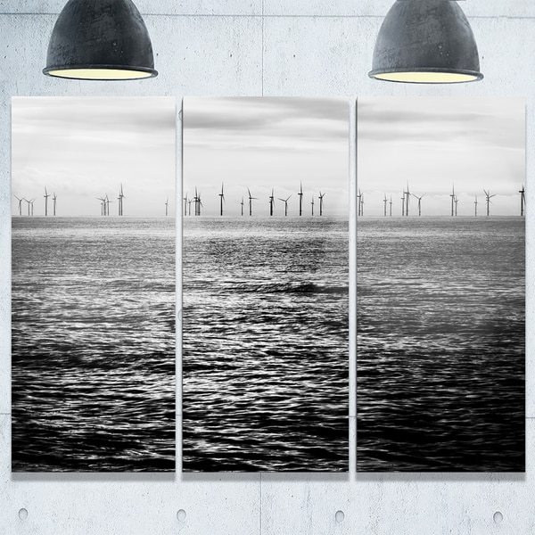 Wind Turbines Black and White - Landscape Glossy Metal Wall Art - 36Wx28H