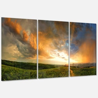 Majestic Sunset with Storm Clouds - Landscape Glossy Metal Wall Art - 36Wx28H