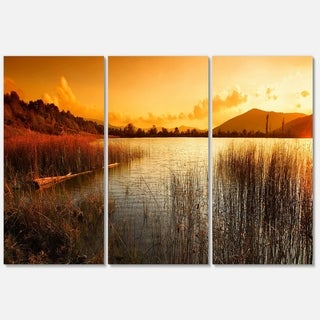 Calm Evening with Lake and Mountains - Landscape Glossy Metal Wall Art - 36Wx28H