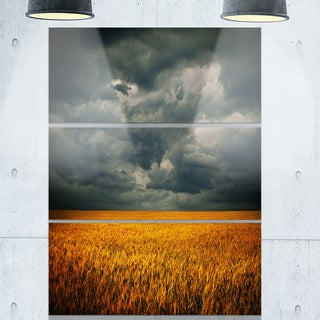 Stormy Clouds Over Wheat Field - Landscape Glossy Metal Wall Art - 36Wx28H