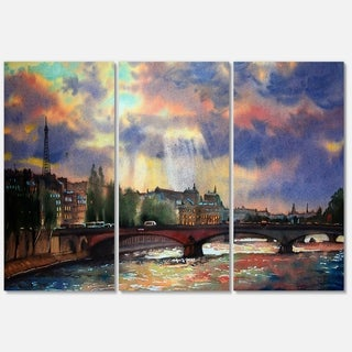 Fabulous Paris City Watercolor - Large graphy Glossy Metal Wall Art - 36Wx28H