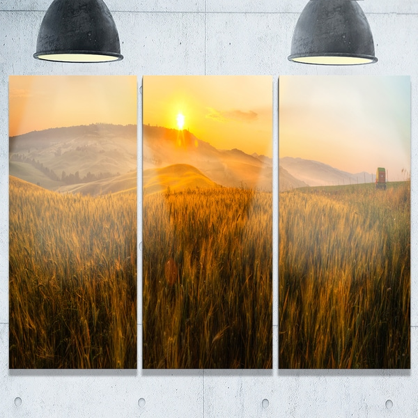 Tuscany Wheat Field at Sunrise - Landscape Glossy Metal Wall Art - 36Wx28H