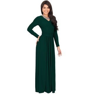 KOH KOH Women's Polyuester and Spandex Ruched Waist V-neck Long-sleeve Cocktail Evening Maxi Dress