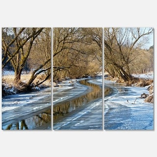 Blue Sunny Day in Winter Landscape - Landscape Glossy Metal Wall Art - 36Wx28H