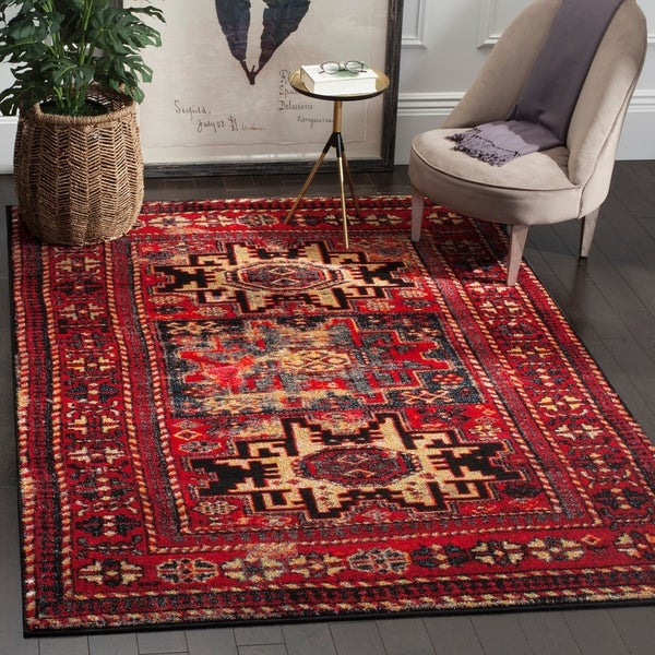 Safavieh Vintage Hamadan Traditional Red/ Multicolored Distressed Rug - 5'3 X 7'6