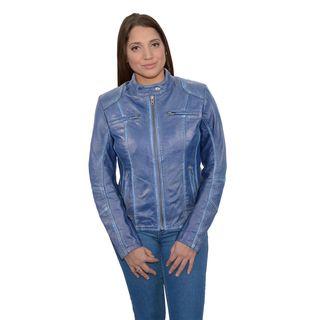 Women's Blue Leather Scuba-style Moto Jacket