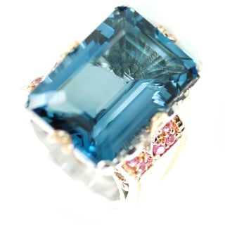 One-of-a-kind Michael Valitutti Radiant London Blue Topaz with Pink Sapphire Cocktail Ring