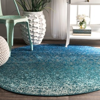 nuLOOM Modern Abstract Vintage Turquoise Round Rug (5'3 Round)