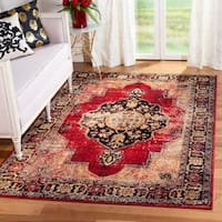 Safavieh Vintage Hamadan Medallion Red/ Multi Distressed Rug (5' x 8')