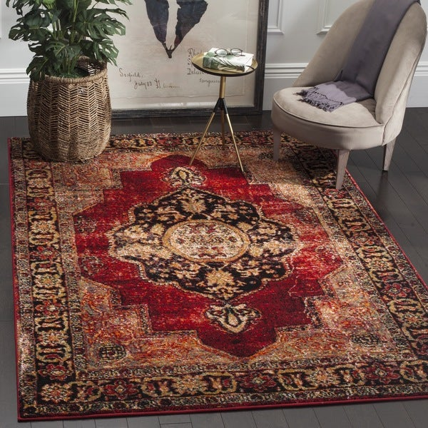 Safavieh Vintage Hamadan Medallion Red Multi Distressed