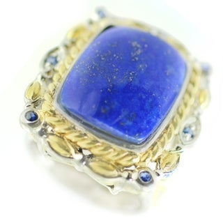 One-of-a-kind Michael Valitutti Lapis Lazuli and Blue Sapphire Cocktail Ring