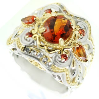 One-of-a-kind Michael Valitutti Fire Citrine and Citrine with Orange and White Sapphire Cocktail Ring