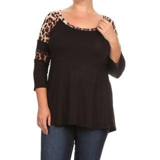 Women's Brown Rayon/Spandex Plus-size Top