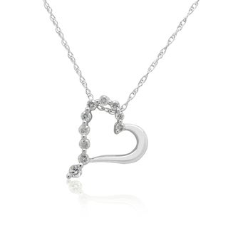 10K White gold 1/6CT TDW Round Diamond Heart Pendant (H-I, I3)