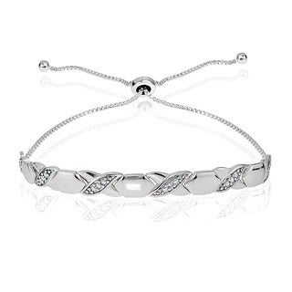DB Designs Sterling Silver Diamond Accented XO Adjustable Bracelet