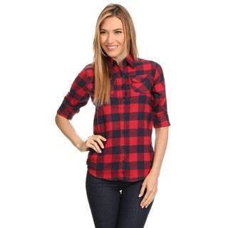 Women's Plaid Red Cotton Button-down Top