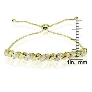 DB Designs Sterling Silver Diamond Accent San Marco Adjustable Slider Bracelet