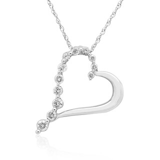 10K White Gold 1/4CT TDW Round Diamond Journey Heart Pendant (H-I, I3)