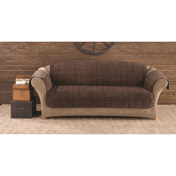 Sure Fit Faux Suede Quilted Sofa Furniture Protector