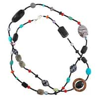 Sterling Silver Multi-gemstone Long Station Necklace