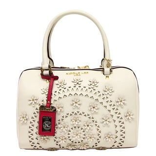 Nicole Lee Farley Boston White Flowery Shoulder Handbag