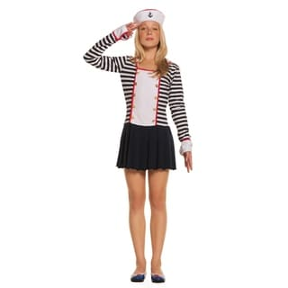 Girls' Blue/ White Long-sleeved Dress with Collar and Hat Sailor Costume