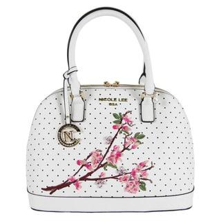 Nicole Lee Kayley White Nylon/Faux Leather Floral Embellishment Dome Shoulder Handbag