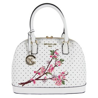Nicole Lee Kayley White Nylon/Faux Leather Floral Embellishment Dome Shoulder Handbag