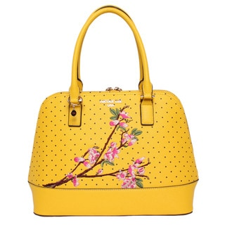 Nicole Lee Kayley Yellow Nylon/Faux Leather Floral Embellishment Dome Shoulder Handbag