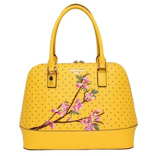 Nicole Lee Kayley Yellow Nylon Faux Leather Fl Embellishment Dome Shoulder Handbag