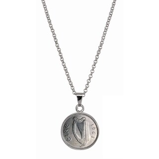 American Coin Treasures Irish Threepence Silvertone Brass Pendant Necklace