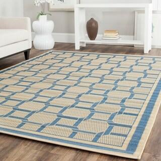 Martha Stewart by Safavieh Resort Weave Cream/ Blue Indoor/ Outdoor Rug (5' x 8')