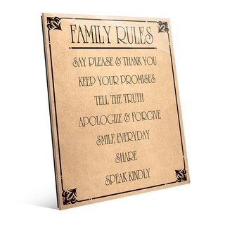 Family Rules' Paper Wall Art on Glass