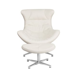 Offex Retro-style Leather Upholstery Cocoon Chair With Ottoman