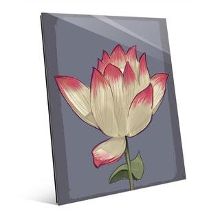 Lotus on Grey' Glass Wall Art
