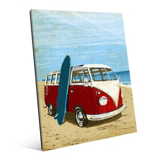 Surfing Road Trip Red Bus' Glass Wall Art