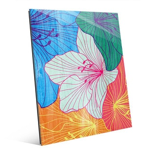Colorful Hibiscus' Glass Wall Art