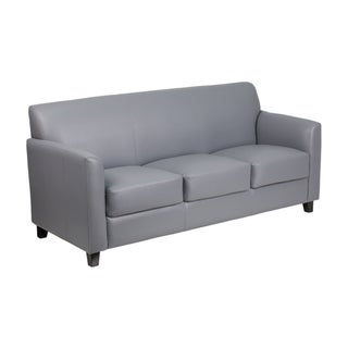 Offex Hercules Diplomat Series Grey Upholstered Leather Flared-arm Sofa