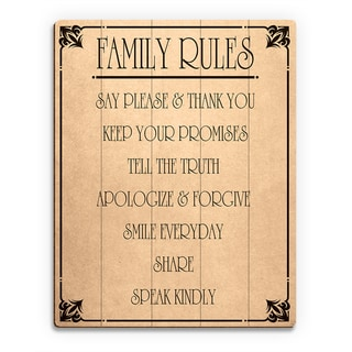 Family Rules' Paper Wood Wall Art