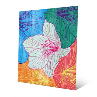 Hibiscus Multicolored Metal Abstract Wall Art