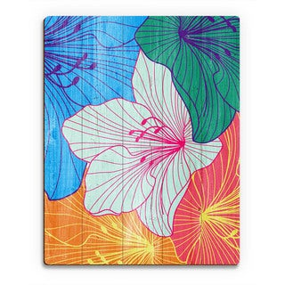Colorful Hibiscus' Wood Wall Art