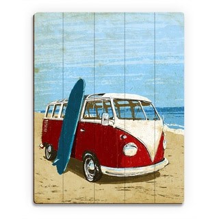 Surfing Road Trip Red Bus' Multicolored Wood Vintage-style Wall Art